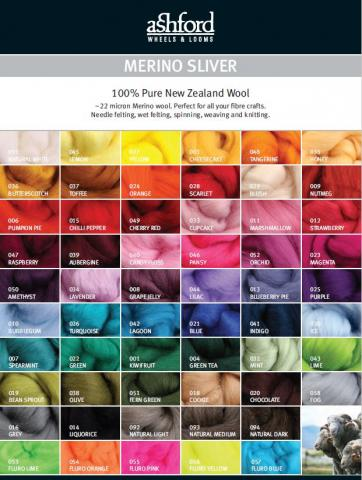 ashford Merino Sliver Colour Card